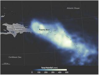Precipitaciones torrenciales en Puerto Rico por el huracán Maria