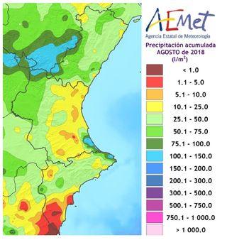 Resumen climático del mes de agosto de 2018 en la Comunidad Valenciana