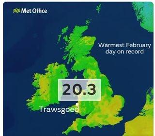 Superada una barrera histórica en el Reino Unido: 20 ºC en invierno