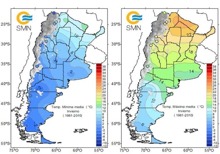 Climatologia invierno SMN Argentina