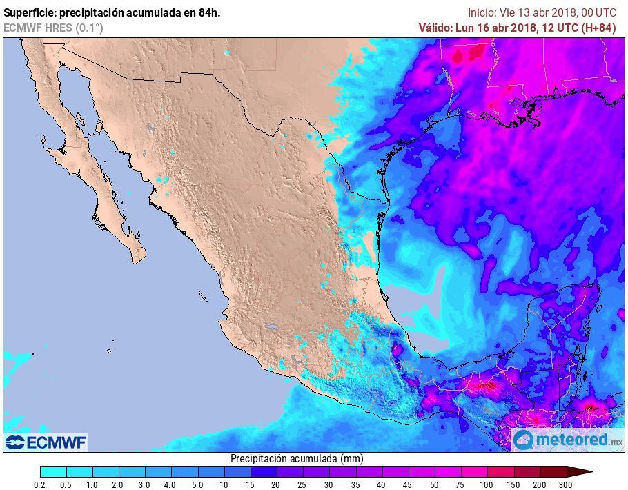 Modelo ECMWF. Acumulado de precipitación