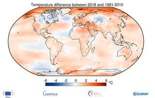 2018 fue el cuarto de una serie de años excepcionalmente cálidos, según Copernicus Atmosphere Monitoring Service (CAMS)-ECMWF