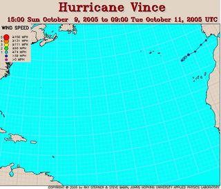 """El ciclón """"Vince"""" en las cercanias de la península Ibérica. Parte III"""