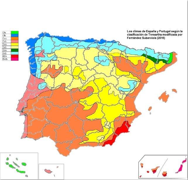 Mapa Climatico De Espana Y Portugal Utilizando La Clasificacion De