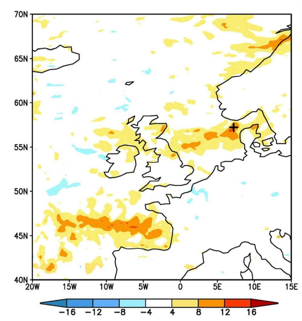 Foto: Diferencias del viento modelado entre 2002-2006 y 2094-2098 en m/s para agosto-octubre. Fuente: Simple Climate