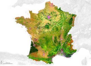 Mapa detallado de la cubierta terrestre de Francia