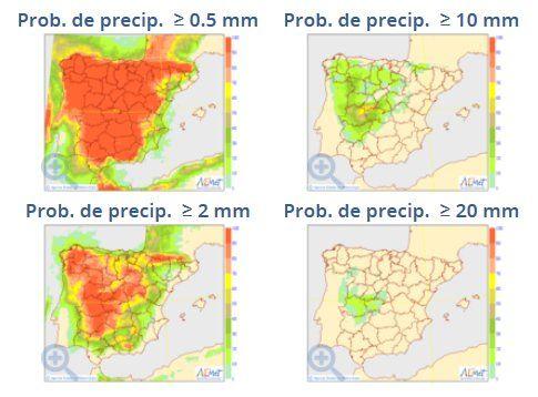 Mapas de probabilidad de precipitación para 0.5, 2, 10 y 20 mm del modelo probabilista del ECMWF para el 27 de agosto 2017. Fuente: AEMET