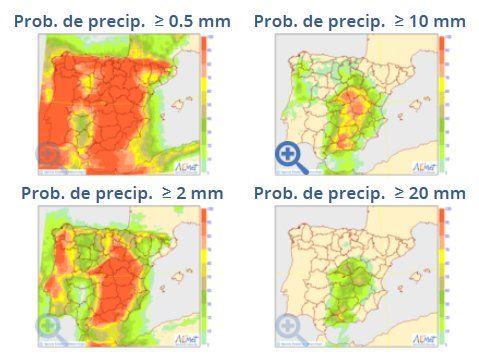 Mapas de probabilidad de precipitación para 0.5, 2, 10 y 20 mm del modelo probabilista del ECMWF para el 28 de agosto 2017. Fuente: AEMET