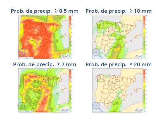 Mapas de probabilidad de precipitación para 0.5, 2, 10 y 20 mm del modelo probabilista del ECMWF para el 29 de agosto 2017. Fuente: AEMET