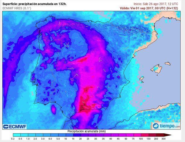 Mapa de precipitación acumulada desde el 27 ago.- 1 sep. de 2017 por modelo determinista de alta resolución del ECMWF