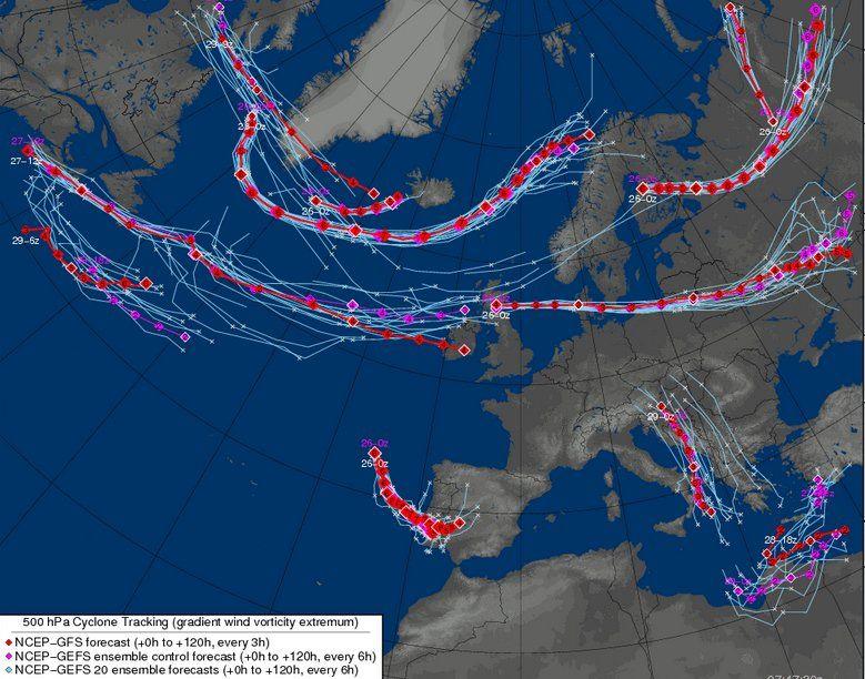 Mapas de trayectorias del centro de la DANA en 500 hPa para varios días. Fuente: Meteocentre