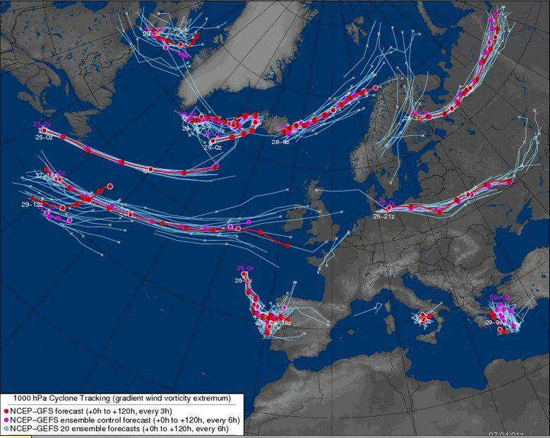 Mapas de trayectorias del centro de la DANA en 1000 hPa para varios días. Fuente: Meteocentre