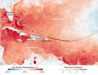 Aguas muy cálidas por delante del huracán Irma
