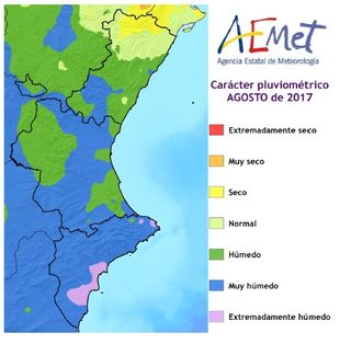 Resumen climático de agosto 2017 en la Comunidad Valenciana: muy húmedo y térmicamente normal