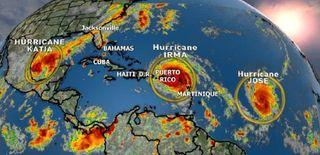 ¿Cuál fue el mayor número de huracanes en el Atlántico al mismo tiempo?