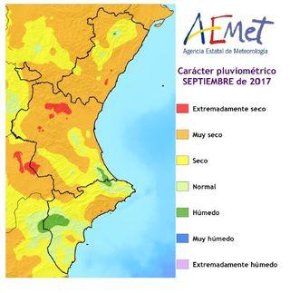 Resumen climático del mes de septiembre 2017 en la Comunidad Valenciana