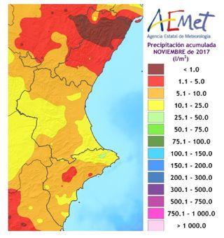 Resumen climático del mes de noviembre 2017 en la Comunidad Valenciana