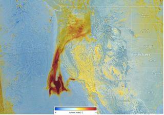 Seguimiento de aerosoles de los incendios de California