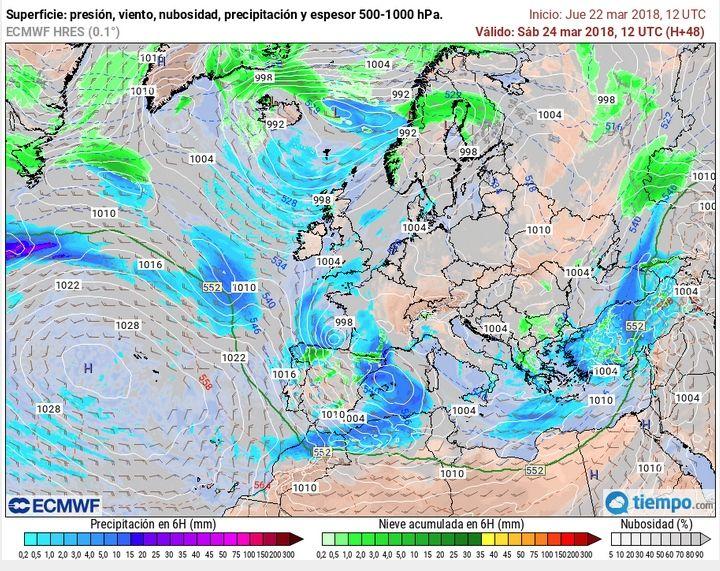 Mapas previstos a las 12 UTC para el 24 de marzo de 2018 según modelo IFS ECMWF: vientos en 300 hPa y superficie con presión, y precipitación prevista. Nótese cómo en superficie Hugo se encuentra rellenándose en el Golfo de Vizcaya y una nueva borrasca aparece en las costas españolas del Mediterráneo frente a Cataluña. Tiempo.com