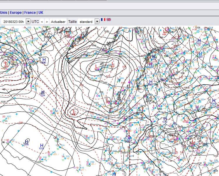 Mapas de superficie donde se observa la profundización de Hugo con datos preliminares: 21 UTC 22 de marzo: 1007 mb, 00 UTC del 23 de marzo: 1001 mb; 03 UTC 23 marzo de 2018: 995 mb. Meteocentre.com
