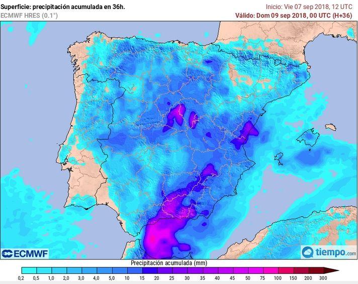 Precipitación acumulada prevista en 36 h del modelo determinista de alta resolución del ECMWF desde 7 sept. 12 UTC a 9 sept. 00 UTC