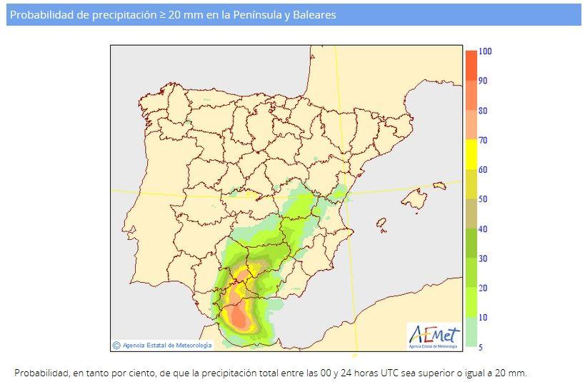 Predicción de probabilidad de precipitación superior a 20 mm en 24 h del modelo ENS ECMWF