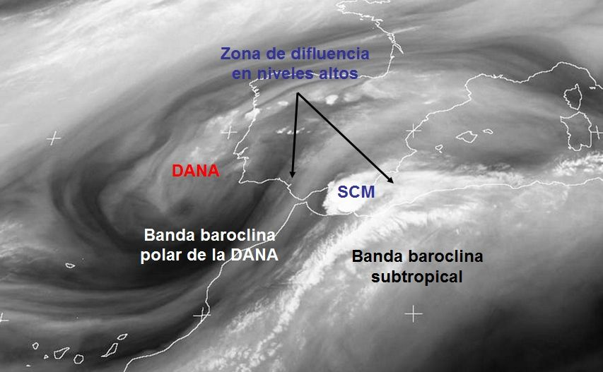 """Imagen de WV de las 03 UTC del 8 sept. 2018 con los principales """"actores"""" meteorológicos en niveles altos"""