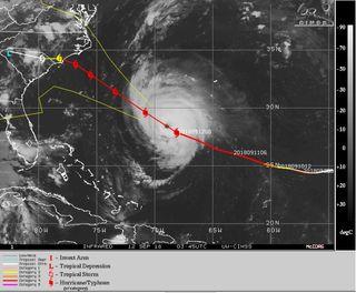La rara trayectoria del peligroso y gran huracán Florence