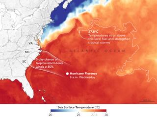 Florence cruzando aguas cálidas hacia las Carolinas