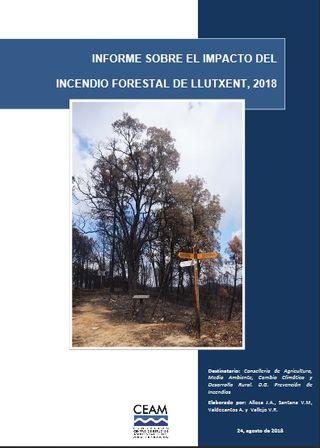 Informe del CEAM sobre el impacto del incendio forestal de Llutxent