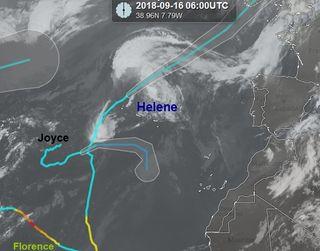 Interacción de los ciclones Helene y Joyce en el Atlántico: efecto Fujiwhara
