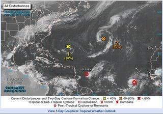 Ciclón subtropical al oeste de Azores
