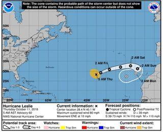 AEMET emite un aviso especial por el ciclón tropical Leslie
