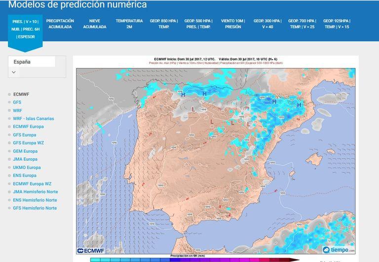 9600 Mapas On-Line Del Modelo Ecmwf/ceppm En Tiempo.com