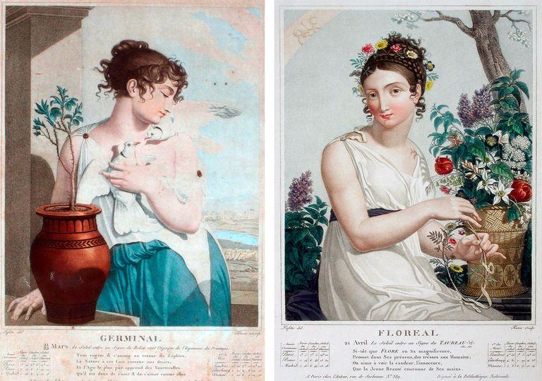 En el calendario Republicano francés, el mes de abril estaba dividido entre los meses de Germinal, a la izquierda de la imagen y de Floreal, a la derecha.