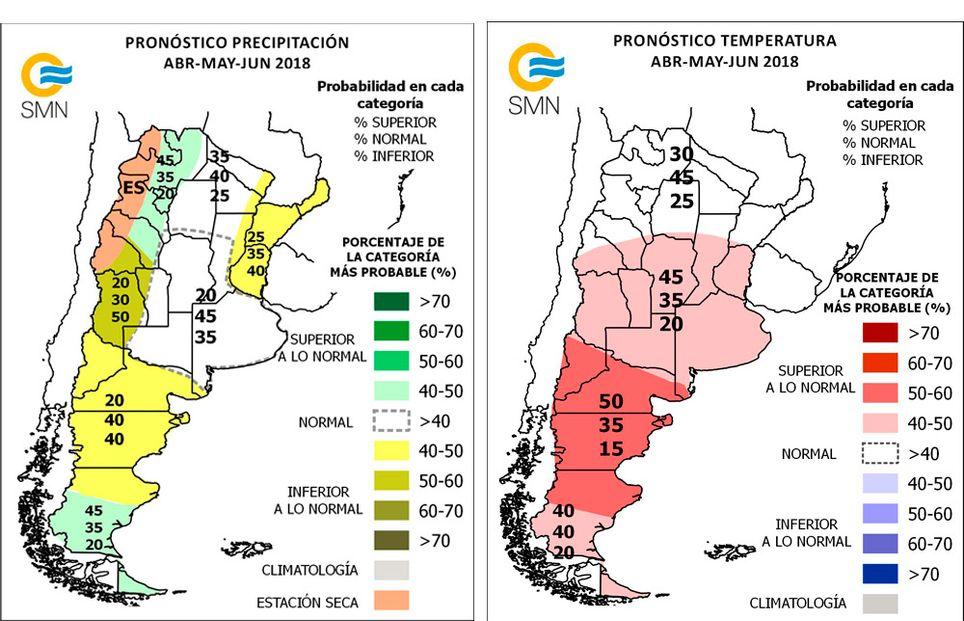 Pronóstico climático trimestral Argentina lluvias temperaturas