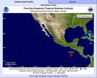Adrián la primera tormenta tropical en el Pacífico Nordeste de 2017