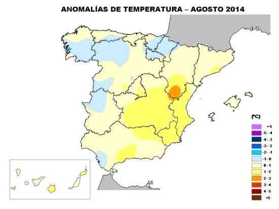 Agosto 2014, Según Aemet