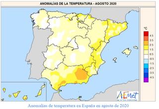 Agosto 2020: noveno más cálido en España en el siglo XXI, según AEMET