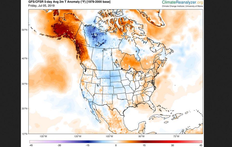 Anomalías de temperatura a 2 metros en º F en 5 días. Climate Reanalyser