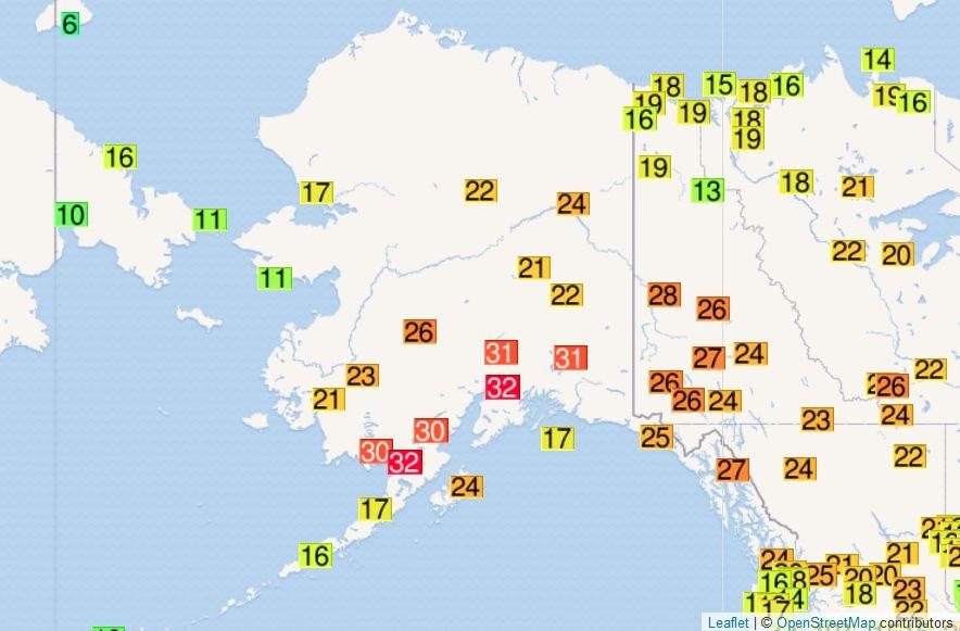 Temperaturas máximas para el 4 de julio de 2019. OGIMET