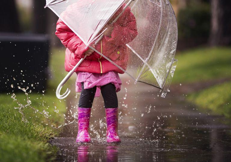 niña con paraguas jugando en el agua