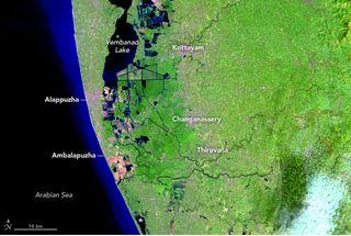 Antes y después de las inundaciones de Kerala