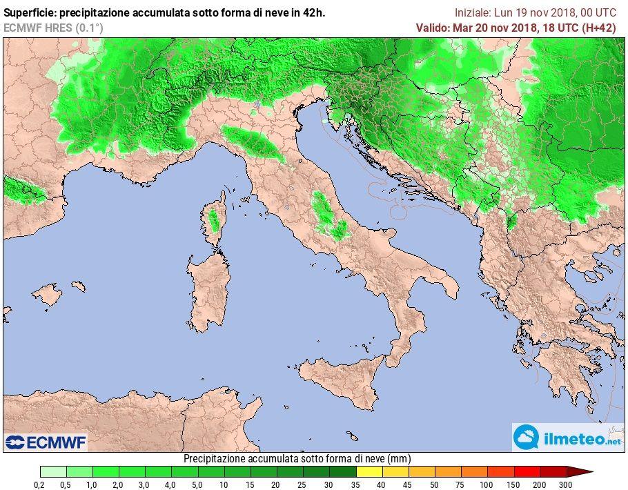 Mappa elaborata dal modello ECMWF che mostra l'accumulo nevoso al suolo nelle prossime 48 ore