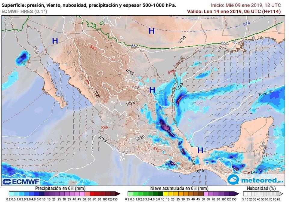 Pronóstico del tiempo para el día lunes a mediodía