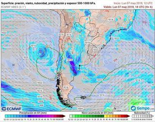 Baja subtropical frente a las costas de Chile