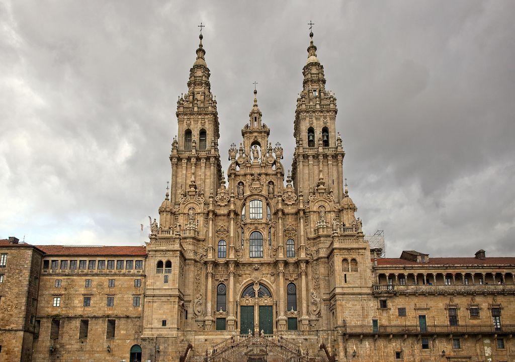 Imagen de la Fachada del Obradoiro en la catedral de Santiago de Compostela.