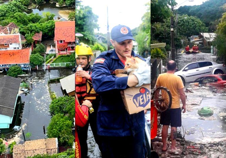 Barragem cede e alaga a cidade de Lagoa da Conceição, em Florianópolis