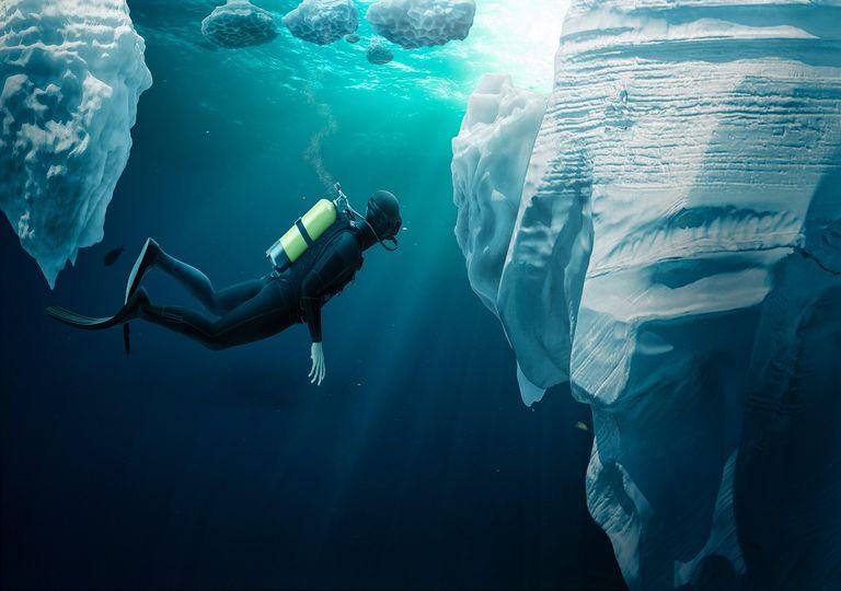 Buzo en aguas heladas