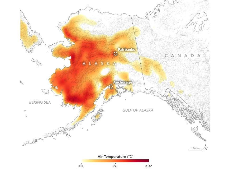 Imagen de la temperatura del aire a 2 metros sobre el suelo el 8 de julio de 2019